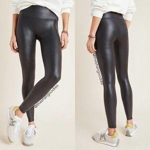 SPANX Faux Leather Leggings Black Coated